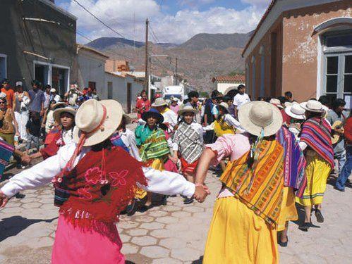 Women wearing awayus while dancing the Carnavalito in Jujuy, Argentina