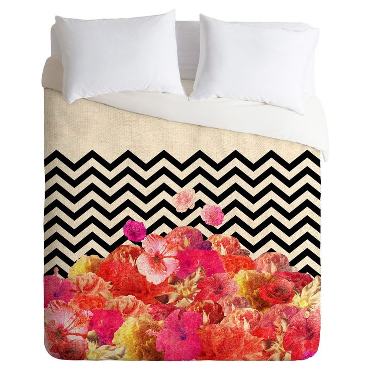 Bianca Green Chevron Flora Duvet Cover Set (King) - Deny Designs, Pink