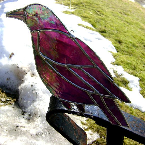 Crow Raven Stained Glass Birds Suncatchers by GothicGlassStudio