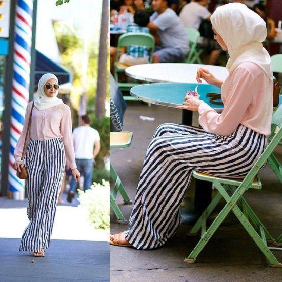 palazzo pant hijab look , Classy hijab outfits http://www.justtrendygirls.com/classy-hijab-outfits/