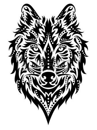 tatouage: Motif en forme d'un loup sur le fond blanc. Illustration