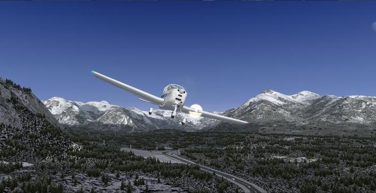 Un petit Tecnam dans la région de Banff (Canada). FSX