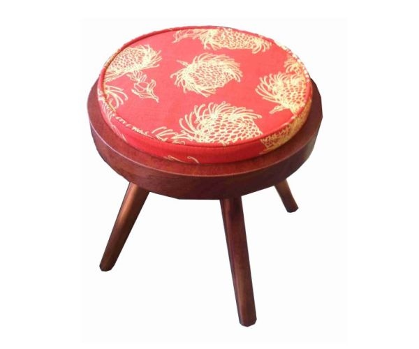 DT Retro Ottoman Round - this versatile Solid Mahogany stool can be customized - choose your own fabric to suit your look! #retro #designteam #wood #furniture