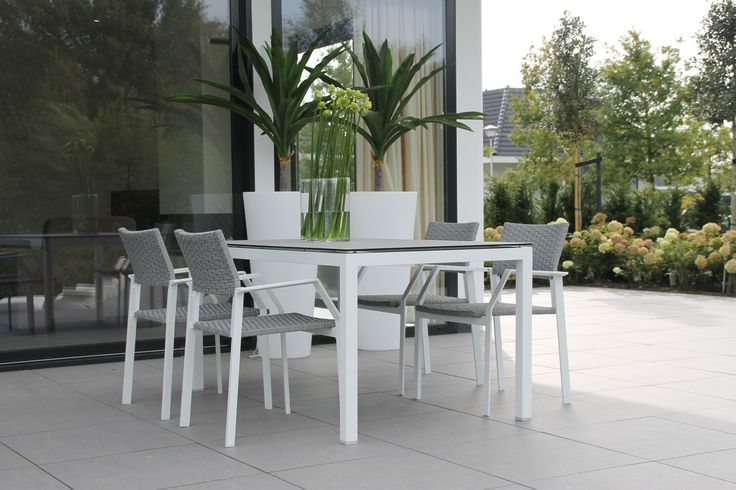 Tuinset eetset tuinmeubels tuinmeubelen grijs wit grey white furniture outdoor patio - Dining houten wit ...