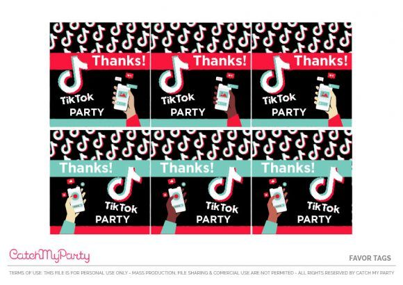 Decorate Your Tiktok Party Favor Bags With These Awesome Tags See More Party Ideas And S Party Printables Party Printables Free Birthday Party Printables Free
