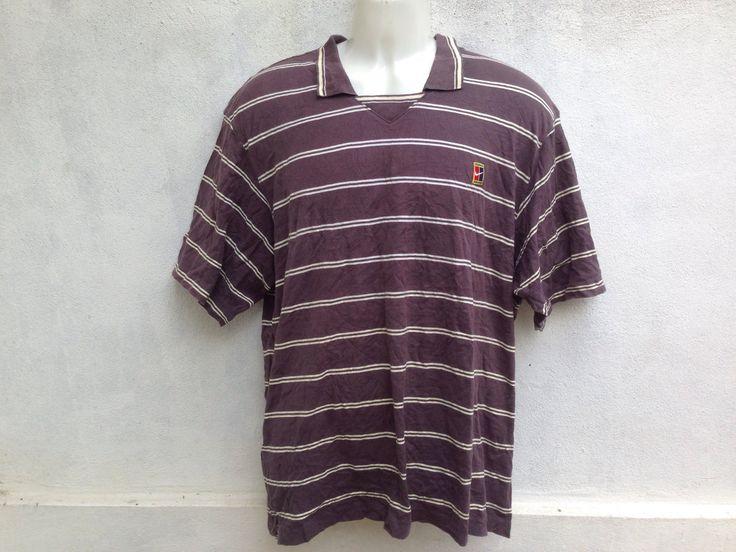 Vintage 90s Nike Tennis Shirt Pete Sampras Stripped Size Medium by TwoNineVintageStore on Etsy