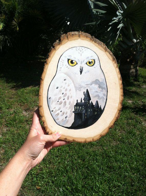Rústico Harry Potter Hedwig y Hogwarts pintura sobre por calicoowls                                                                                                                                                                                 Más