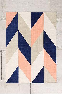 Teppich mit Zickzack-Muster in Pfirsich, 5 x 7 Fuß