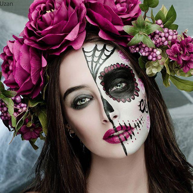 Half Sugar Skull MakeUp by Instagramer lilachuzan