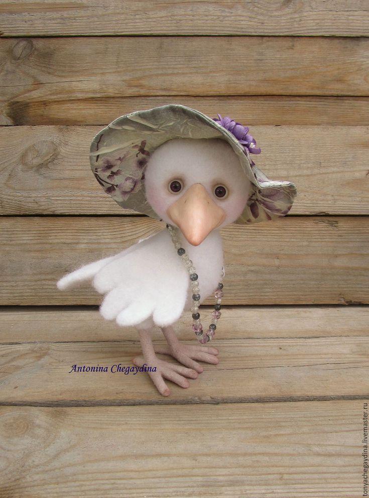 Купить Белая ворона Маруся - белый, ворона, белая ворона, ворона из шерсти, ворона валяная