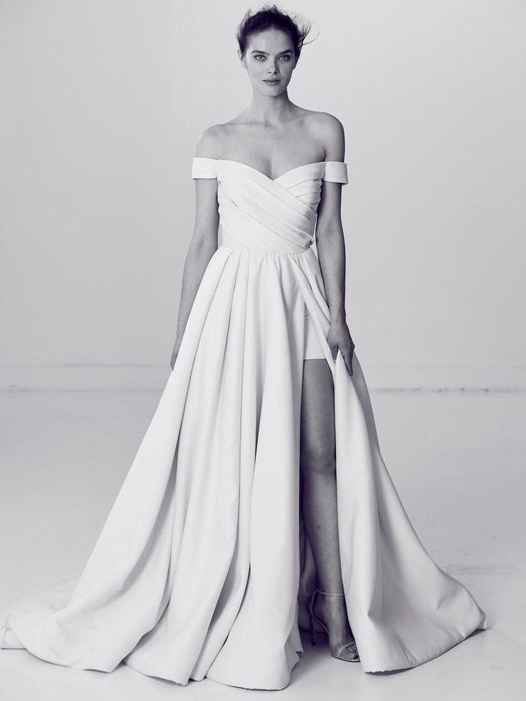 Off-the-Shoulder Pleated Wedding Dress with High Side Slit | Alyne by Rita Vinieris Spring 2018 |  http://trib.al/Fz9w5aL