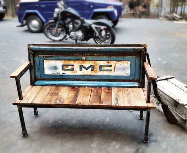 love this vintage inspired tailgate bench by yesterday reclaimed of culpeper virginia usa. Black Bedroom Furniture Sets. Home Design Ideas