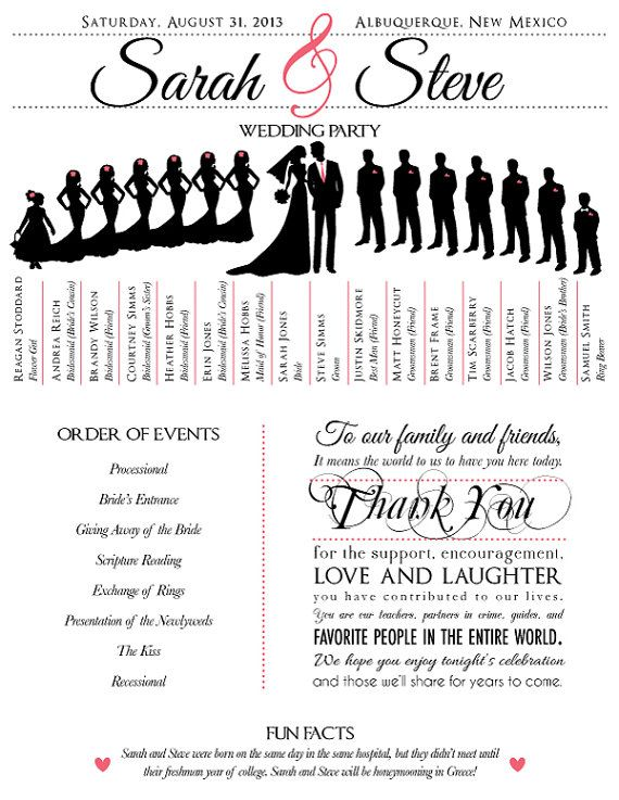 wedding program with wedding party silhouettes by JoyfulPrintables