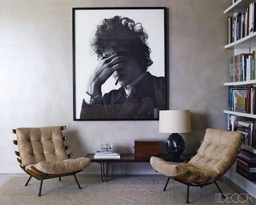 Oversized b/w photo art. (Love the chairs too).