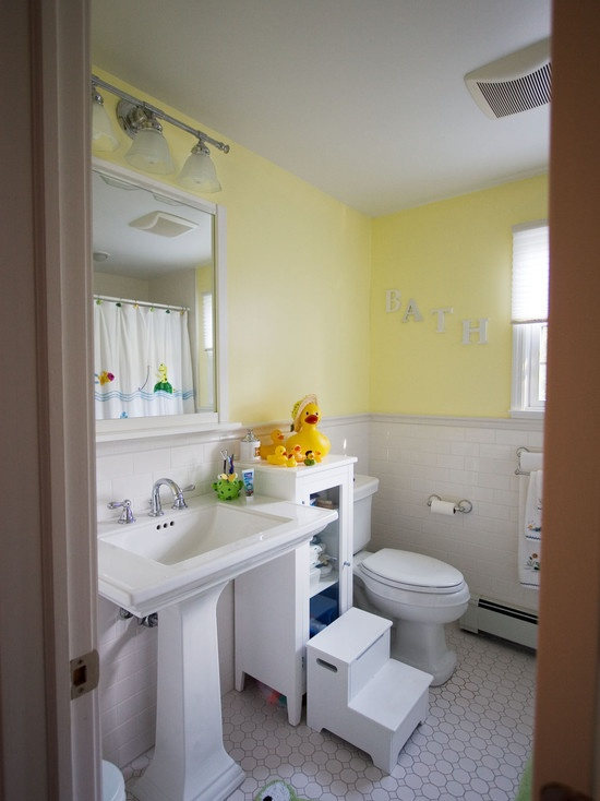 in case my original layout doesn't work... sink and toilet on the slanted, tub on the opposite. Love the floors and the color.