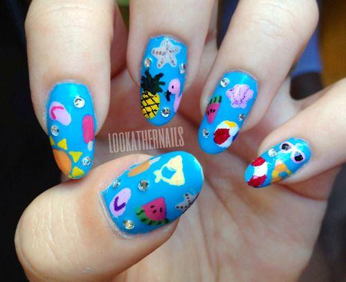 Summer themed nail art by LookAtHerNails