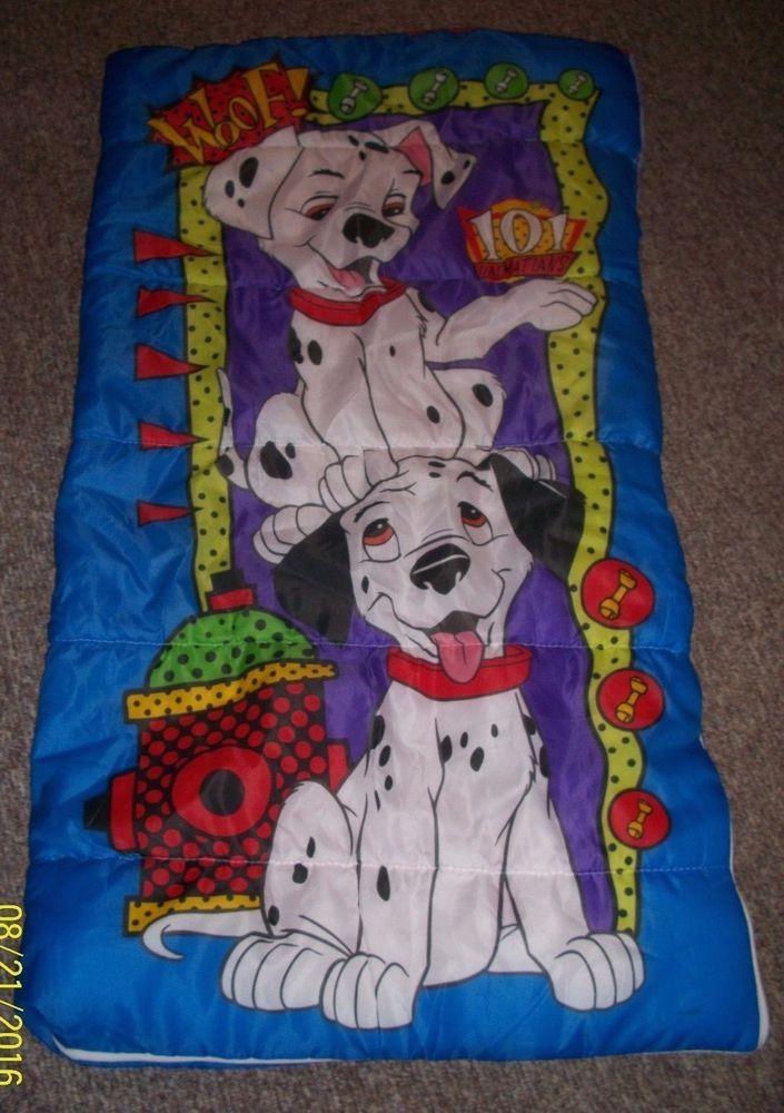 Vintage Disney 101 Dalmations Blue Kids Sleeping Bag Dogs