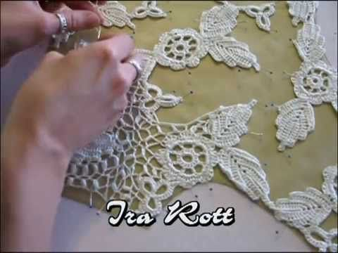 Red irregular- crochet irlandés- unión de los motivos - YouTube