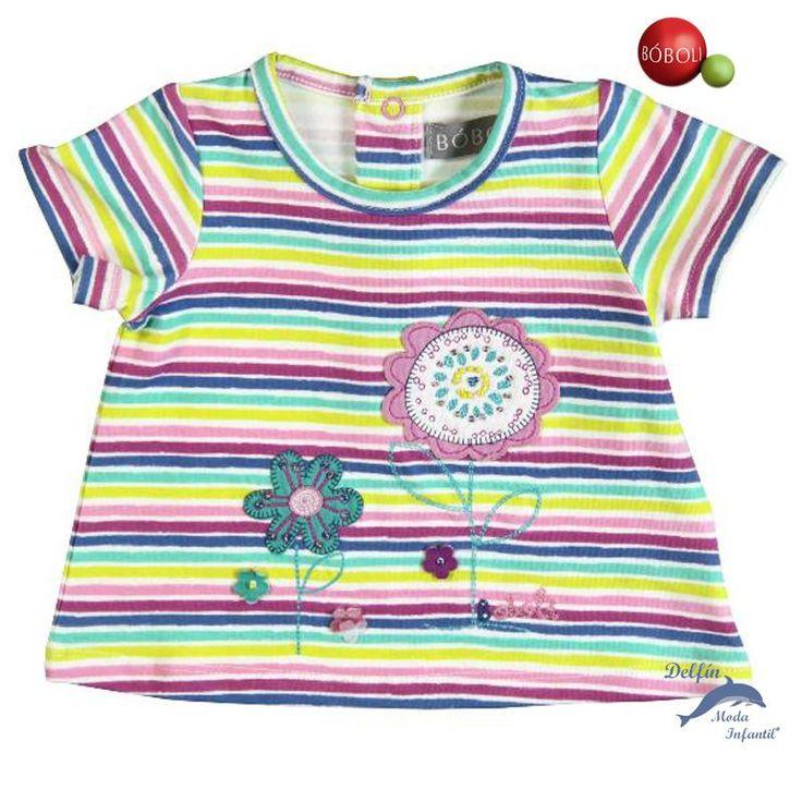 Camiseta niña BOBOLI listada con bordado