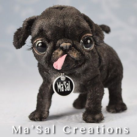 Ma'Sal original Special Dolly Doggy/ Baby Black Pug / Direct from the Artist  #MaSalCreations #AllOccasion
