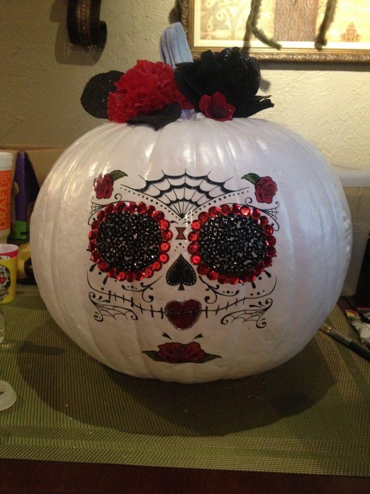 Sugar skull pumpkin decor. Spray painted pumpkin, used ...