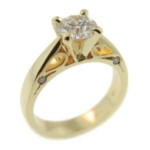 18ct Yellow Gold Round Brilliant Solitaire Diamond Ring. Handmade by Sam Drummond at Cameron Jewellery