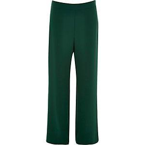 Donkergroene broek met hoge taille