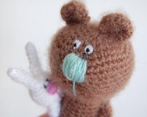 Crochet Teddy bear with bunny Baby gift Animal bear by RomeoShop