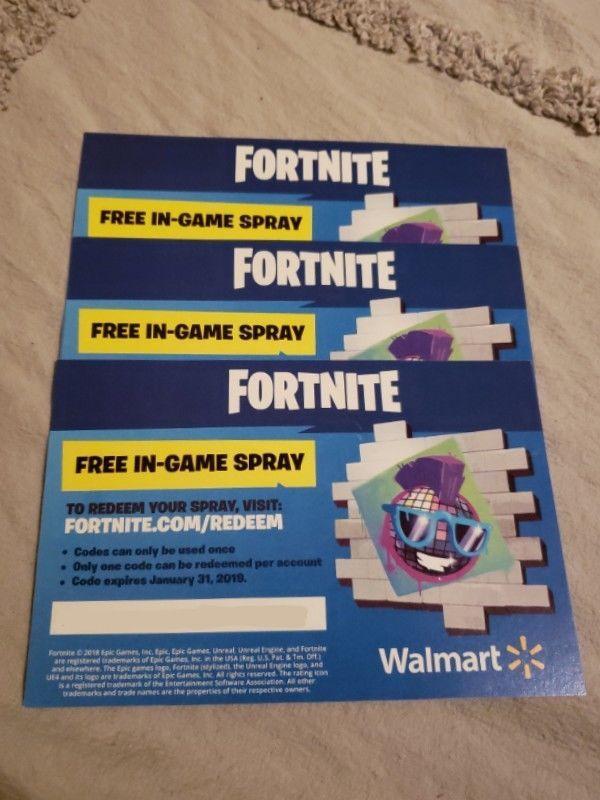 Walmart Exclusive Fortnite In Game Spray Redemption Code Unused