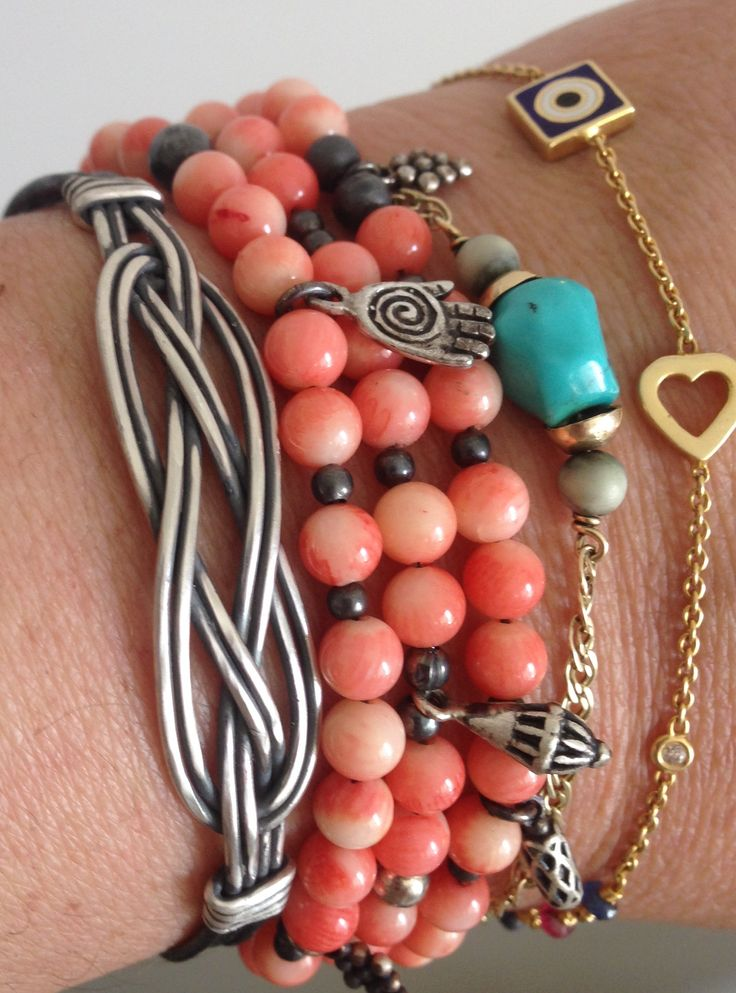 925k silver Coral - love knot