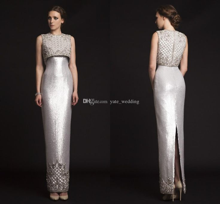 2015 Luxury Krikor Jabotian Evening Dresses Two Pieces Sequins Satin Sheath Long Silver Prom Dresses Split Back Spring Formal Gown Vestidos Evening Dresses Beaded Evening Dress From Yate_wedding, $148.04| Dhgate.Com