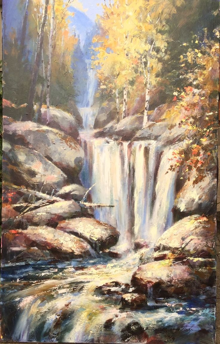 "New from Brent Heighton  'Falling Water'  40""x30"" Acrylic on Canvas  www.BrentHeighton.com"
