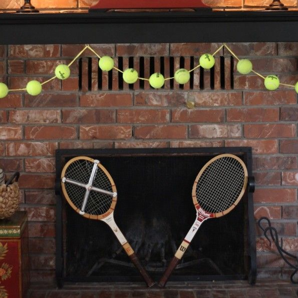 Tennis ball garland... could be fun for a sport themed event!                                                                                                                                                                                 More