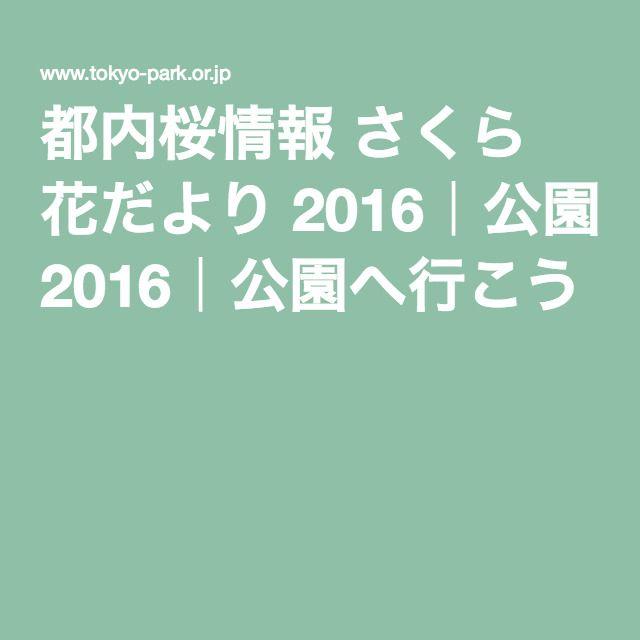 都内桜情報 さくら 花だより 2016|公園へ行こう!