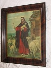 Religious Chromolithograph The Good Shepherd Jesus Circa 1920's