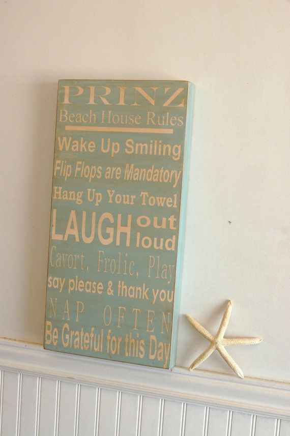 Beach House family rules subway style art wood sign  by kspeddler, $50.00: Houses Families, Lakes House, Wood Signs, Style Art, Beaches Houses, Beaches Rules, Art Wood, Houses Rules, Families Rules