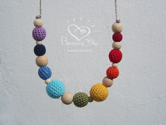 Hey, I found this really awesome Etsy listing at https://www.etsy.com/listing/186673707/rainbow-necklace-teether-for-mommy-baby