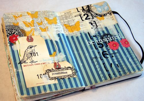 Donna Downey, mixed media genius, not only makes wonderful art journals but her website has a plethora of video blogs, posts, and links for the mixed media artist in all of us. Love her work and site.