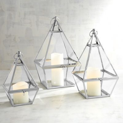 Eldridge Silver Triangle Metal Lanterns | Pier 1 Imports