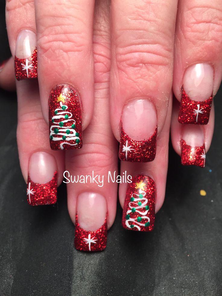 Christmas nails #christmastreenails #swankynails