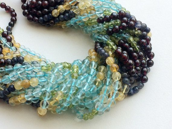 WHOLESALE 5 Strands Multi Gemstone Beads Multi by gemsforjewels