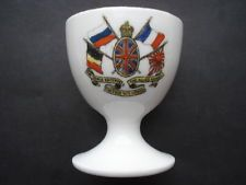 RARE CWW1 VINTAGE THE TRIPLE ENTENTE THE ALLIED ARMIES UNITED WE STAND EGG CUP