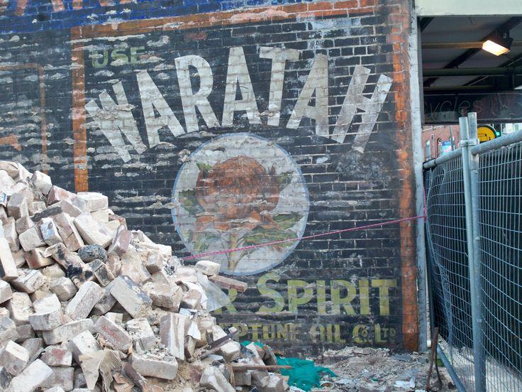 Demolition reveals 1911 garage wall ad for Waratah Motor Spirit, King Street Newtown, NSW