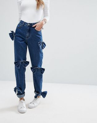 Glamorous Relaxed Mom Jeans With Distressed Bows