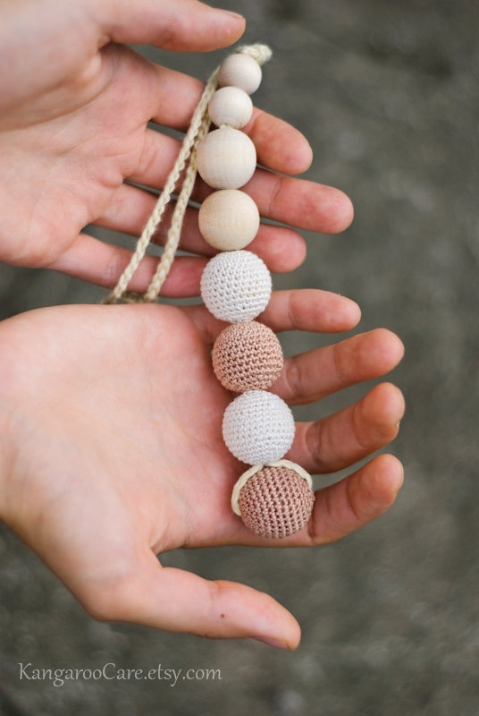 All Natural Baby Toy - Wooden Teether with crocheted beads - neutral beige and white. $16.00, via Etsy.