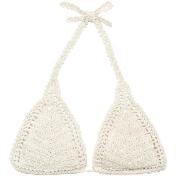 She Made Me Essential crochet triangle bikini top (€91) found on Polyvore featuring swimwear, bikinis, bikini tops, cream, crochet swimsuit top, swim tops, boho bikini, triangle bikini and swimsuits tops