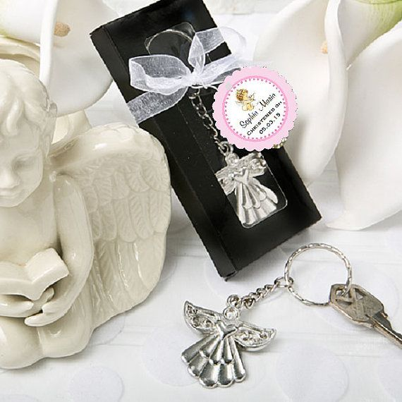 BAPTISM CHRISTENING PHOTO Gift Silver Angel Key by shadow090109