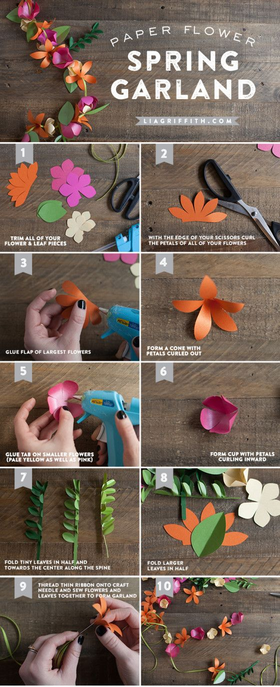 Project:  Spring paper garland, flower, flowers.