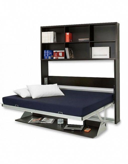 Opened Horizontal Murphy Bed Desk With Vertical Shelving Library Murphybedideas