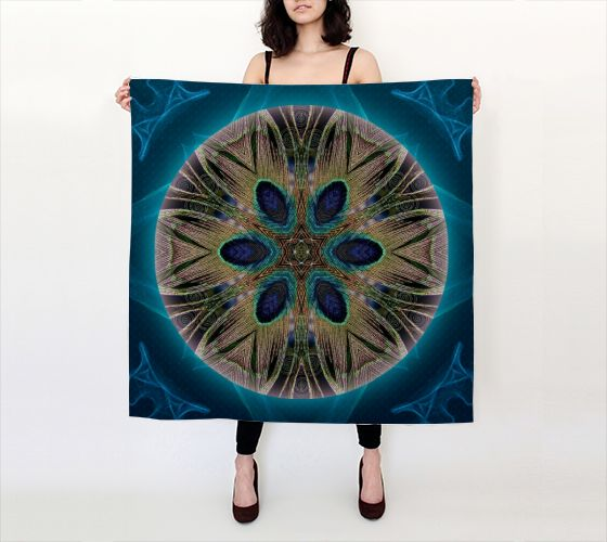 Peacock Power Silk Scarf #peacock #feather #mandala #silk #silkscarf #wearableart #unstarvingartist  https://artofwhere.com/shop/product/155460